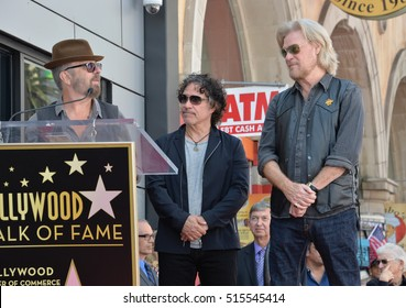 LOS ANGELES, CA. September 2, 2016: Dave Stewart (left) with Daryl Hall & John Oates at the Hollywood Walk of Fame star ceremony honoring musicians Daryl Hall & John Oates.