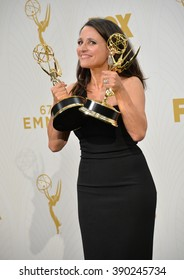 "LOS ANGELES, CA - SEPTEMBER 20, 2015: ""Veep"" star Julia Louis-Dreyfus at the 67th Primetime Emmy Awards at the Microsoft Theatre LA Live."