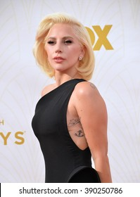 LOS ANGELES, CA - SEPTEMBER 20, 2015: Lady Gaga at the 67th Primetime Emmy Awards at the Microsoft Theatre LA Live.