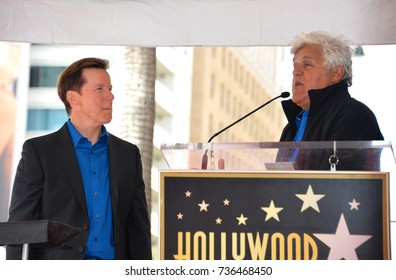 LOS ANGELES, CA - September 21, 2017: Jeff Dunham & Jay Leno at the Hollywood Walk of Fame Star Ceremony honoring ventriloquist Jeff Dunham