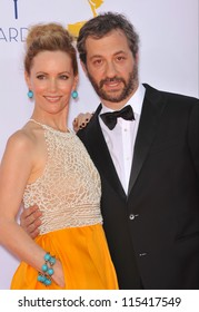 LOS ANGELES, CA - SEPTEMBER 23, 2012: Leslie Mann & husband Judd Apatow at the 64th Primetime Emmy Awards at the Nokia Theatre LA Live.