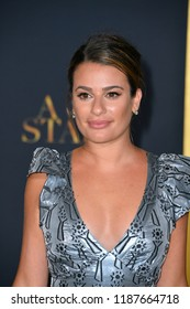 "LOS ANGELES, CA. September 24, 2018: Lea Michele at the Los Angeles premiere for ""A Star Is Born"" at the Shrine Auditorium.