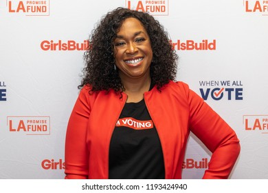 LOS ANGELES, CA - SEPTEMBER 28: Shonda Rhimes attends the LA Promise Fund's Girls Build Leadership Summit 2018 on September 28, 2018 in Los Angeles, California.
