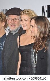 """LOS ANGELES, CA - SEPTEMBER 29, 2009: Drew Barrymore, Ellen Page (right) & Steven Spielberg at the premiere of """"Whip It"""" at Grauman's Chinese Theatre. The movie marks Barrymore's directorial debut"""