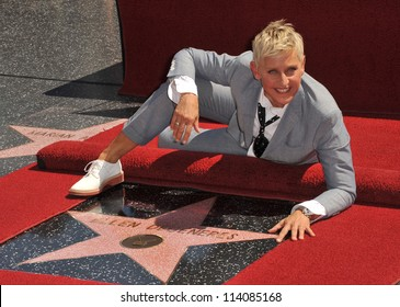 LOS ANGELES, CA - SEPTEMBER 4, 2012: Ellen DeGeneres on Hollywood Blvd where she was honored with the 2,477th star on the Hollywood Walk of Fame.