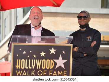 LOS ANGELES, CA. September 7, 2016: Singer/actor Usher & producer Harvey Weinstein at Usher's Hollywood Walk of Fame star ceremony.