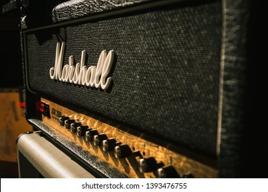 Los Angeles, CA / United States, CA- 5.5.19: Marshall Electric Guitar Amp Close Up at Concert