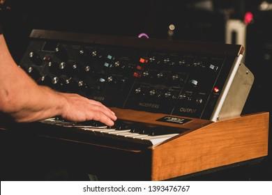 Los Angeles, CA / United States, CA -5.5.19: Vintage Moog Synth Backstage at Concert