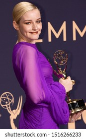 LOS ANGELES, CA / US - SEPTEMBER 22 2019: Julia Garner, winner of Outstanding Supporting Actress in a Drama Series award for 'Ozark,' poses in the press room during the 71st Emmy Awards at Microsoft