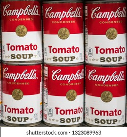 Los Angeles, CA/ USA 02/24/2019 Six tin cans of Campbell soup tomato soup in a store shelf