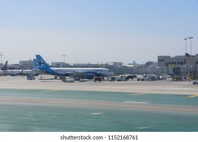 Los Angeles, CA / USA - 07 15 2018: Multiple InterJet planes parked in Los Angeles International Airport (LAX)