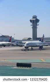 Los Angeles, CA / USA - 07 15 2018: Multiple Delta Airlines planes parked in Los Angeles International Airport (LAX)