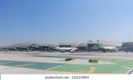 Los Angeles, CA / USA - 07 15 2018: Multiple planes parked in Los Angeles International Airport (LAX)