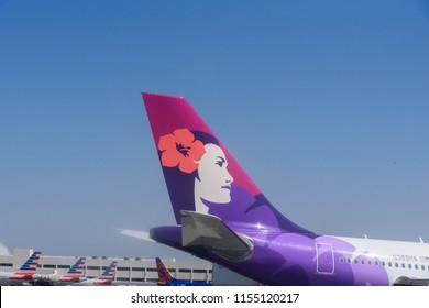 Los Angeles, CA / USA - 07 15 2018: Hawaiian Airlines plane parked in Los Angeles International Airport (LAX)