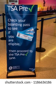 Los Angeles, CA / USA - 09/19/2018: TSA Pre Inside LAX Airport