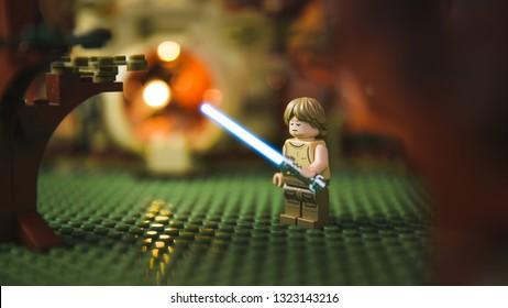Los Angeles, CA / USA - 2/20/2019: Lego Luke Skywalker training on Dagobah in Star Wars Episode Five