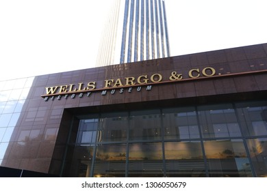 Los Angeles, CA / USA - 2/5/2019: The Wells Fargo History Museum is operated by Wells Fargo that features exhibits about the company's history.
