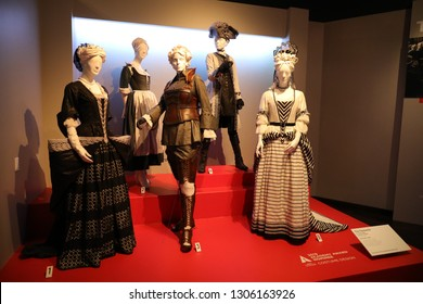 Los Angeles, CA / USA - 2/5/2019: Costumes from 2019 Oscar-nominated movies on display at FIDM/Fashion Institute of Design & Merchandising museum.
