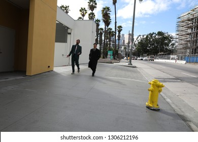 Los Angeles, CA / USA - 2/5/2019:  Random people on the streets of Downtown of Los Angeles