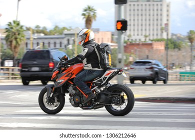 Los Angeles, CA / USA - 2/5/2019:  Random biker on the streets of Downtown of Los Angeles