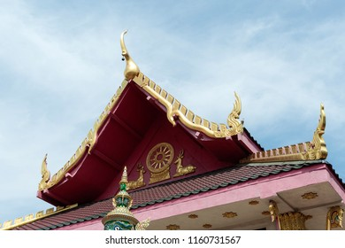 Los Angeles, CA, USA - 9th of July 2018: Wat Thai temple roof detail. Wat Thai of Los Angeles is the largest Thai Buddhist Temple in Los Angeles. Situated in the Sun Valley.