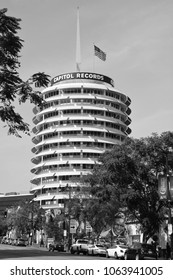 LOS ANGELES CA USA APRIL 13, 2015: Capitol Records Tower in LA. Capitol Records is a major US based record label, formerly located in LA. Its former headquarters is a major landmark in LA.
