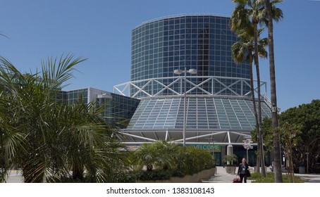Los Angeles, CA / USA - April 28, 2019: The Los Angeles Convention Center with attendees walking by.