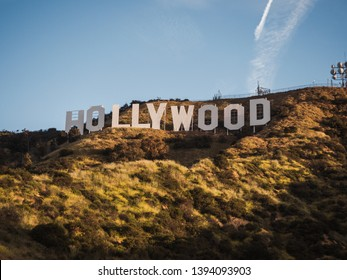 Los Angeles, CA / USA - April 15 2019: Sunrise view on the Hollywood sign