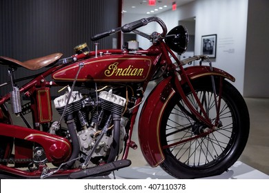 Los Angeles, CA, USA â?? April 16, 2016: 1927 Indian Big Chief Motorcycle formerly owned by Steve McQueen, now part of the Margie and Robert E. Petersen Collection.