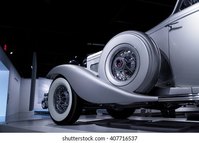 Los Angeles, CA, USA April 16, 2016: A 1936 Duesenberg Model SJN Convertible Coupe by Rollston. Part of the Nethercutt Collection, Helen and Jack Nethercutt at the Petersen Automotive Museum