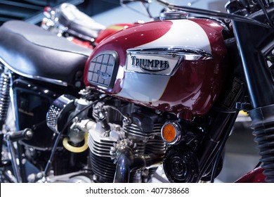 Los Angeles, CA, USA April 16, 2016: 1970 Triumph Bonneville T120RT motorcycle from the collection of Richard Varner at the Petersen Automotive Museum
