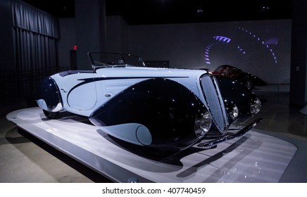 Los Angeles, CA, USA April 16, 2016: 1938 Delahaye Type 135M by Figoni et Falaschi is part of the collection of the Mullin Automotive Museum on display at the Petersen Automotive Museum