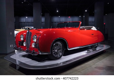Los Angeles, CA, USA April 16, 2016: 1949 Delahaye Type 175 Drophead Coupe at the Petersen Automotive Museum in Los Angeles, California, United States.