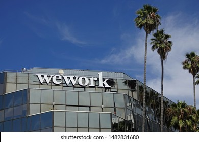 Los Angeles, CA / USA - Aug. 18, 2019: A WeWork shared office workspace location exterior is shown in Hollywood during the day. For editorial uses only.