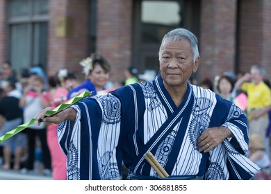 Los Angeles, CA - USA - August 16, 2015: Participant performing during 75th Annual Nisei Week Grand Parade in Little Tokyo.