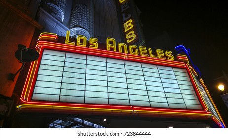 LOS ANGELES, CA, USA - December 29, 2015: The now defunct Los Angeles Theater. Downtown Los Angeles is the central business district and enjoyed it's heyday in the early 1920s.