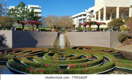 Los Angeles, CA, USA - December 03, 2017 - The Getty Center as seen from the Central Garden