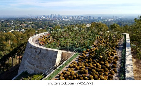 Los Angeles, CA, USA - December 03, 2017 - Cactus Garden perched on the south of the Getty Center, with West Los Angeles in the background