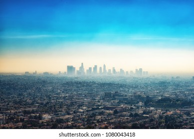 Los Angeles, CA, USA - February 02, 2018: Downtown skyscraper buildings and suburbs of Los Angeles from Griffith Park California