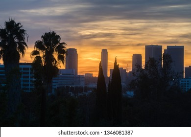 Los Angeles, CA / USA - February 2019: Los Angeles city view, buildings, landmark at sunset