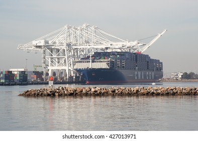 Los Angeles, CA USA February 20, 2016 Named the Benjamin Franklin, He is one of the largest cargo container shipping  vessels  in the world. He was built for CMA CGM in 2015. 13,000 feet in length