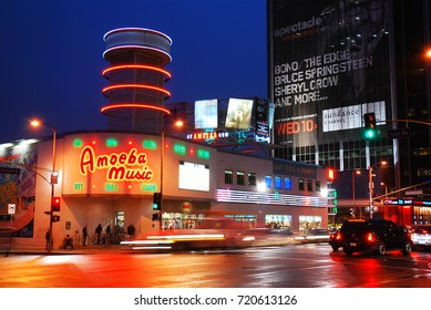 Los Angeles CA, USA February 24, 2010 Amoeba Music is an iconic music store near Hollywood in Los Angeles, California.  It is considered one of the largest independent record dealers in the world