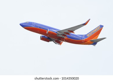 LOS ANGELES, CA, USA - JANUARY 30, 2018: Southwest Airlines aircraft taking off from LAX.