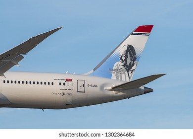 LOS ANGELES, CA, USA - JANUARY 21, 2018: Norwegian Air Shuttle ASA Dreamliner approaching LAX, Los Angeles International Airport,  for landing. Plane painted in Roald Dahl livery.