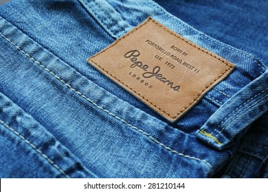LOS ANGELES, CA, USA - JANUARY 10, 2015. Part of Jeans by Pepe Jeans London, back patch close-up
