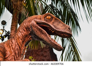 Los Angeles, CA, USA . January  9, 2016: Raptor Encounter is an attraction visitors can meet a Velociraptor in front of Jurassic Park: The Ride at Universal Studios Hollywood.