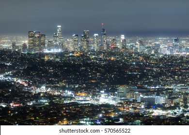 Los Angeles, CA, USA - January 26, 2017: view to night skyline at the downtown in Los Angelis, California, USA.