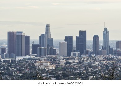 Los Angeles, CA, USA - January 24, 2017: Skyscrapers at Los Angeles downtown skyline.