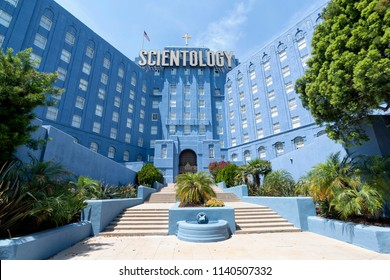 Los Angeles, CA, USA - July 16, 2018: Church of Scientology in Los Angeles. Scientology is a body of religious beliefs and practices launched in May 1952 by American author L. Ron Hubbard.