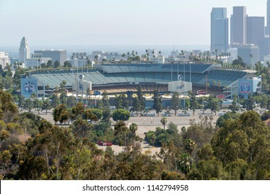 Los Angeles, CA, USA - July 16, 2018: Dodger Stadium, occasionally called by the metonym Chavez Ravine, is a baseball park located in the Elysian Park, the home field to the Los Angeles Dodgers.